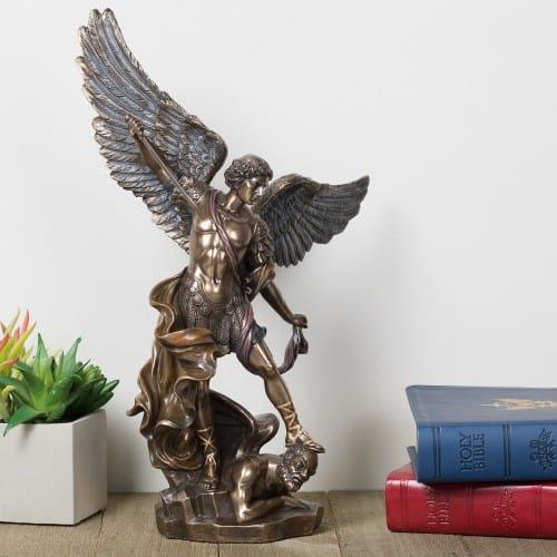 Very St. Michael Bronze Finish Statue - 14