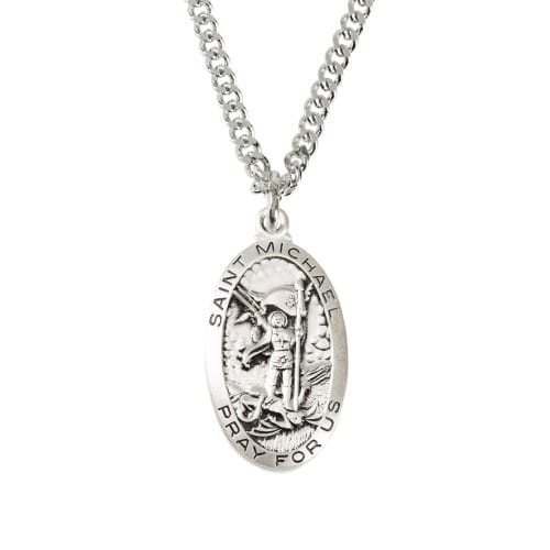 St. Michael Medal - Sterling Silver - 24 inch chain