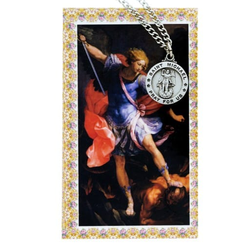 St. Michael Patron Saint Prayer Card w/ Medal