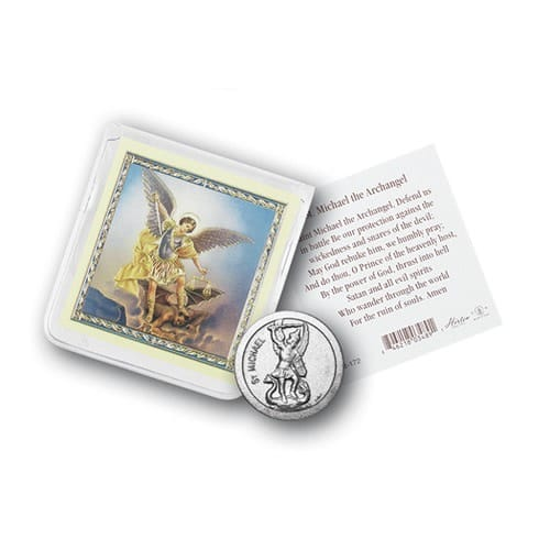 St. Michael Pocket Coin with Holy Card