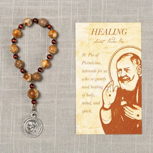 St. Padre Pio Healing Decade Rosary & Card