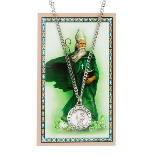 St. Patrick Patron Saint Prayer Card w/ Medal<!patrickmedal>