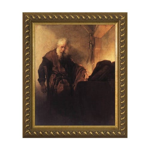 St. Paul at His Writing Desk w/ Gold Frame