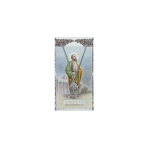 St. Paul Patron Saint Prayer Card w/Medal