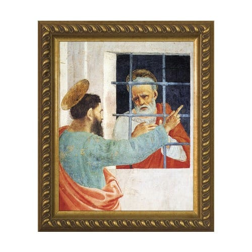 St. Paul Visits St. Peter w/ Gold Frame (8x10)
