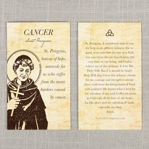 image relating to Printable Catholic Prayer Cards titled St. Peregrine - Most cancers Therapeutic Prayer Card