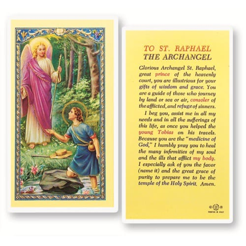 St. Raphael Laminated Prayer Card