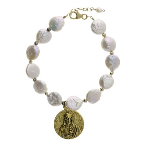 St. Therese & Sacred Heart Fresh Water Pearl Bracelet