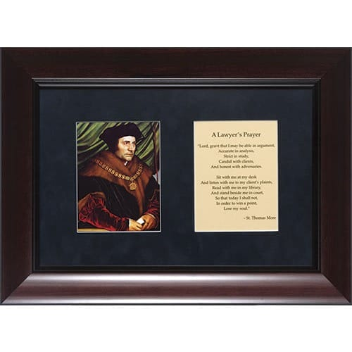 St. Thomas More (Matted with Lawyer's Prayer in Cherry Frame) 8x12