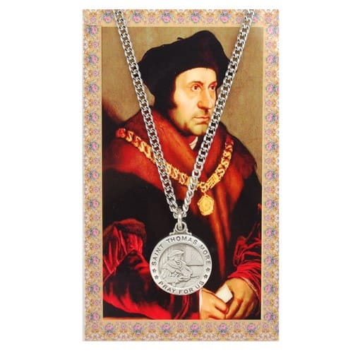 St. Thomas More Patron Saint Prayer Card w/Medal