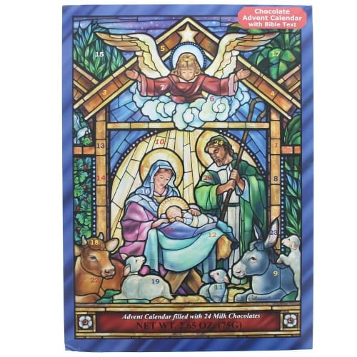 Stained Glass Nativity Advent Calendar With Chocolate The Catholic