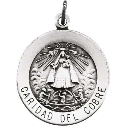 Sterling Silver 18.25mm Round Caridad del Cobre Medal