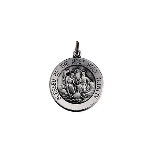 Sterling Silver 18.25mm Round Holy Trinity Medal