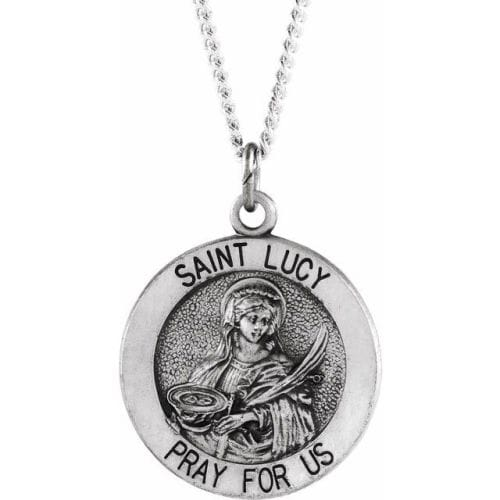 Sterling Silver 18.25mm Round St. Lucy Medal