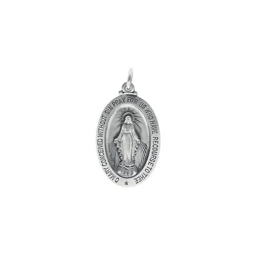 Sterling Silver 28.5x17.5mm Oval Miraculous Medal