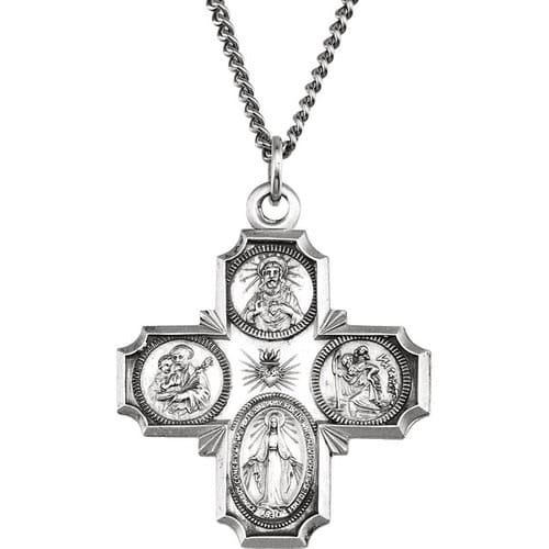Sterling Silver 30x29mm Four-Way Cross Medal 24