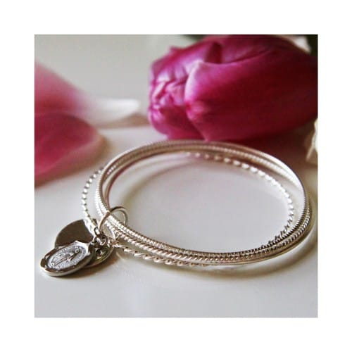 Sterling Silver 4-Bangle Miraculous Bracelet
