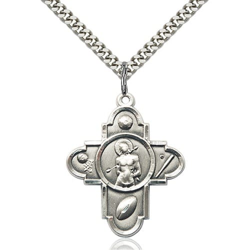 sterling silver 5 way st sebastian pendant the catholic