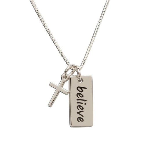 SS Believe Pendant Necklace with Cross