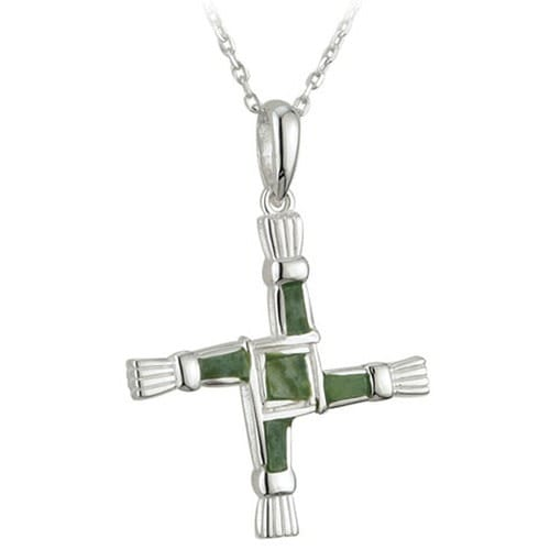 Sterling Silver Connemara Marble St. Brigid Cross on 18 inch chain