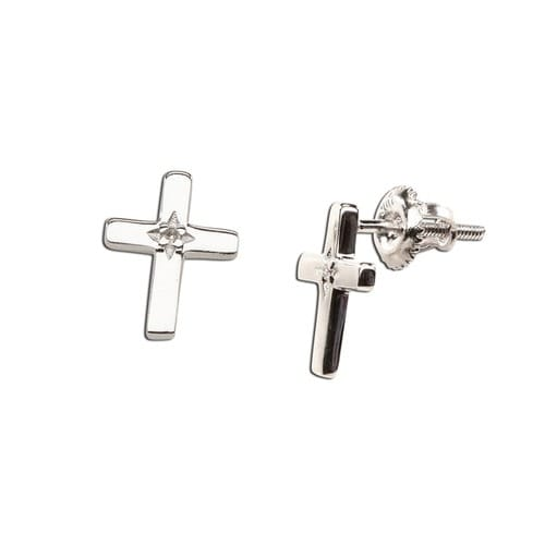 Sterling Silver Cross Earrings with Diamond Accent