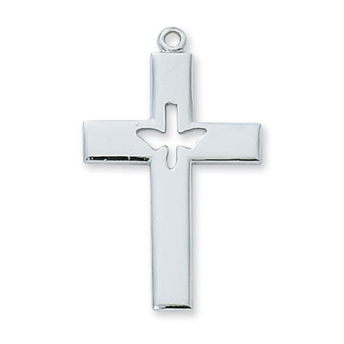 Sterling Silver Cross w/Dove on 24 inch chain