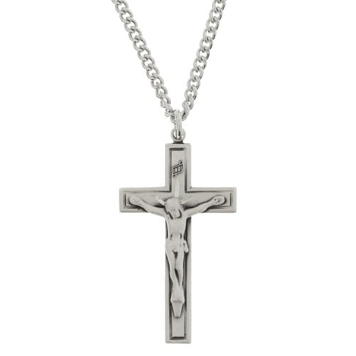 Sterling silver crucifix with 24 chain the catholic company sterling silver crucifix with 24 aloadofball Image collections