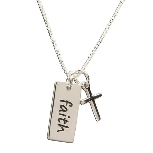 Ss faith pendant necklace with cross the catholic company ss faith pendant necklace with cross aloadofball Image collections