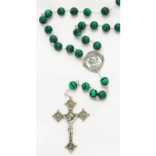 Sterling Silver Genuine Malachite Rosary, 8mm