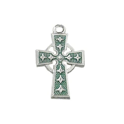 Sterling Silver Green Enameled Celtic Cross with 18 inch chain