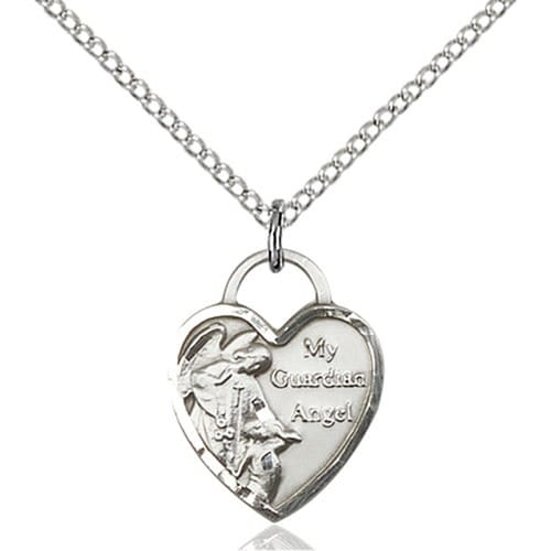 Sterling silver guardian angel heart pendant the catholic company sterling silver guardian angel heart pendant mozeypictures Choice Image