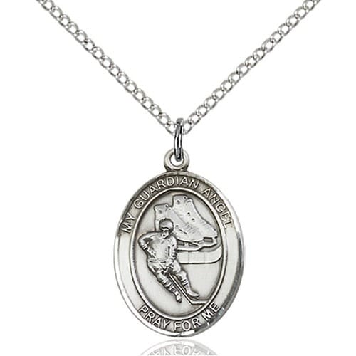 Sterling Silver Guardian Angel/Hockey Pendant