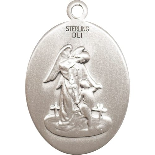 Sterling Silver Guardian Angel/Soccer Pendant