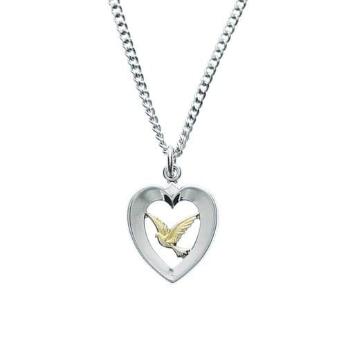 Sterling Silver Heart & Dove Necklace