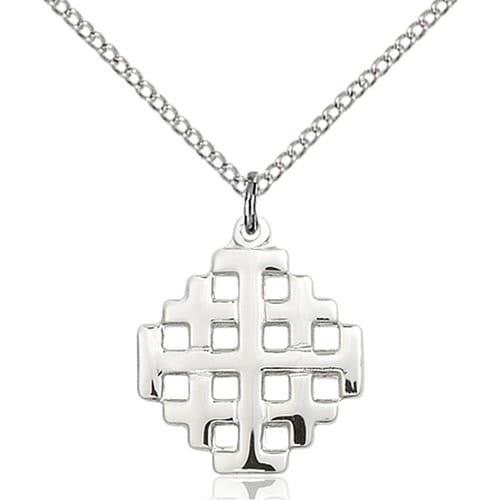 Sterling silver jerusalem cross pendant the catholic company sterling silver jerusalem cross pendant aloadofball Images