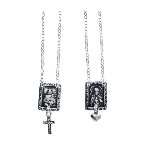Sterling Silver Scapular with Cross & Heart