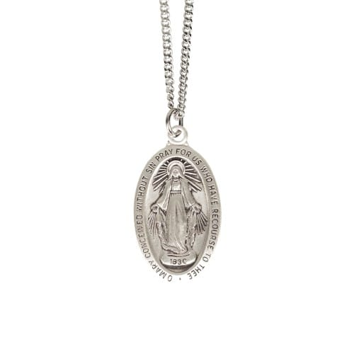 Sterling Silver Miraculous Medal on 18 inch chain