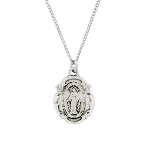 Sterling Silver Miraculous Medal Pendant On 18 Inch Chain
