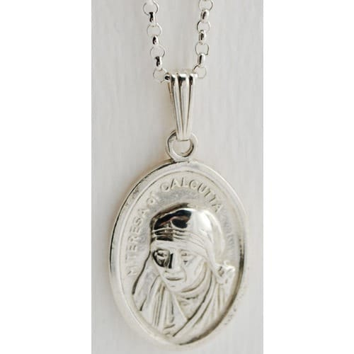 Sterling Silver Mother Teresa of Calcutta Medal  w/ Chain