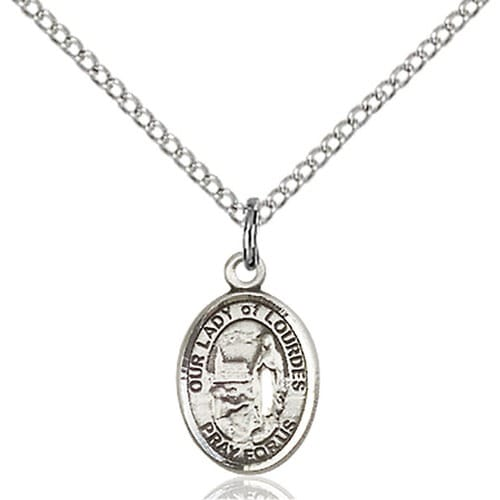Sterling Silver Our Lady of Lourdes Petite Pendant