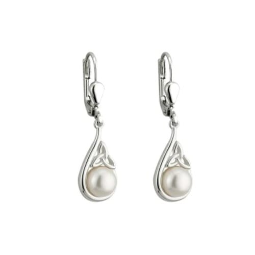 Sterling Silver & Pearl Trinity Knot Earrings