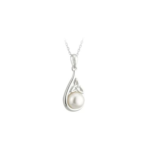 Sterling Silver & Pearl Trinity Knot Pendant Necklace
