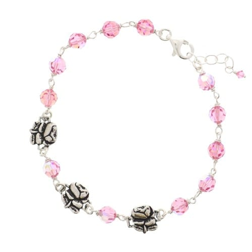 418112a32f Sterling Silver Pink Swarovski Rosary Bracelet with Roses | The Catholic  Company