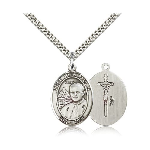Sterling Silver Pope John Paul II Pendant w/ chain