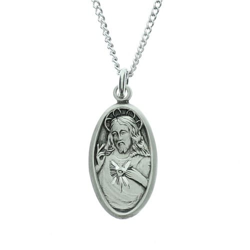 Sterling Silver Scapular Medal on 18 inch chain