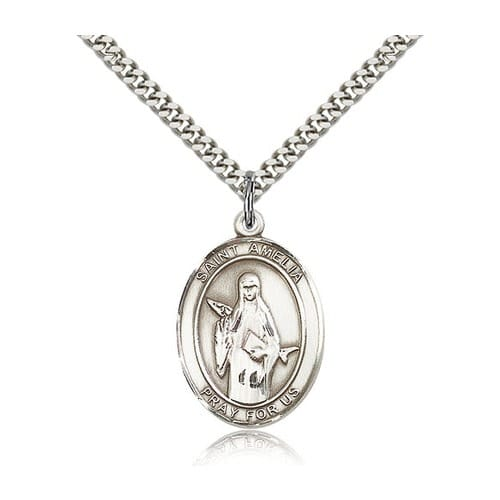 Sterling Silver St. Amelia Pendant w/ chain