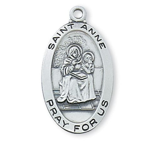 Sterling Silver St. Anne Medal with 18 inch chain