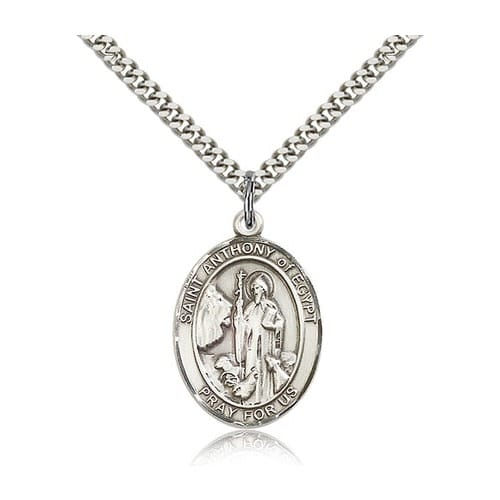 Sterling Silver St. Anthony of Egypt Pendant w/ chain