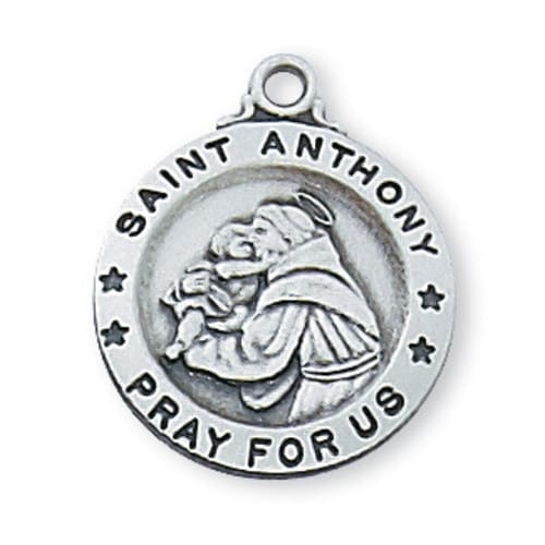 Sterling Silver St. Anthony Medal with 18 inch chain