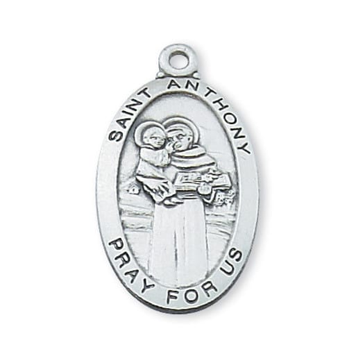 Sterling Silver St. Anthony Medal with 24 inch chain